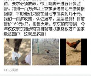 刘强东晒京东跑步鸡:每只鸡必须跑100万步 卖168元